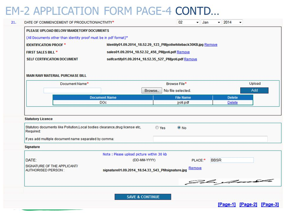 EM-2 APPLICATION FORM PAGE-4 CONTD…