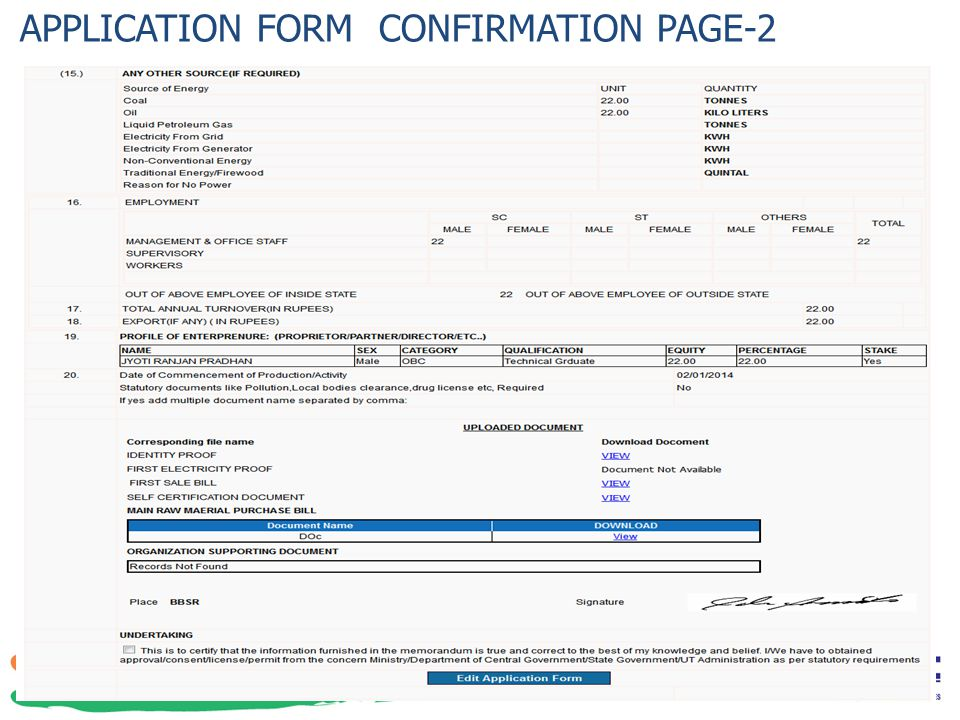 APPLICATION FORM CONFIRMATION PAGE-2