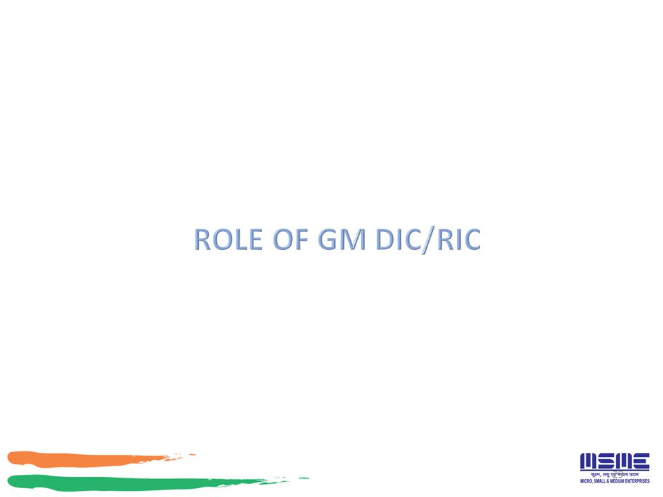 ROLE OF GM DIC/RIC