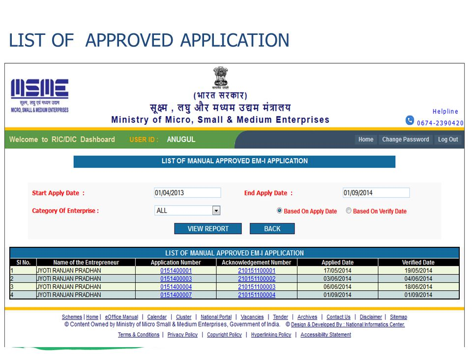 LIST OF APPROVED APPLICATION