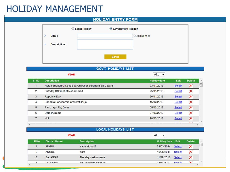 HOLIDAY MANAGEMENT 41