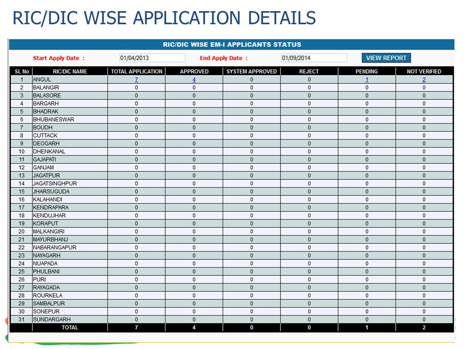 RIC/DIC WISE APPLICATION DETAILS