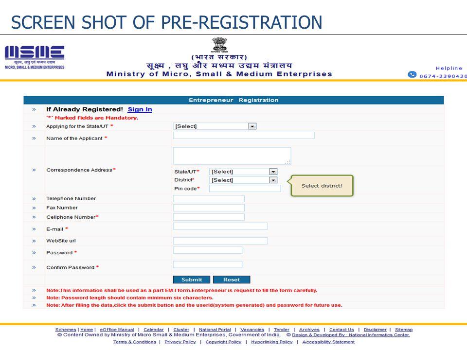 SCREEN SHOT OF PRE-REGISTRATION