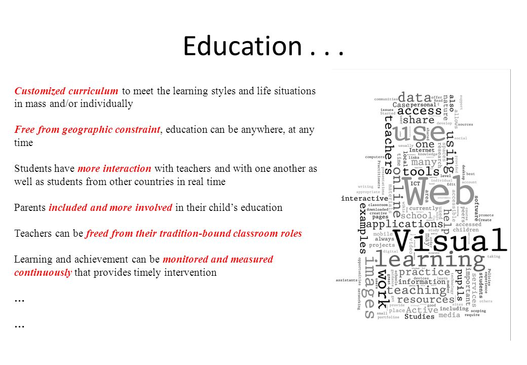 Education . . . Customized curriculum to meet the learning styles and life situations in mass and/or individually.