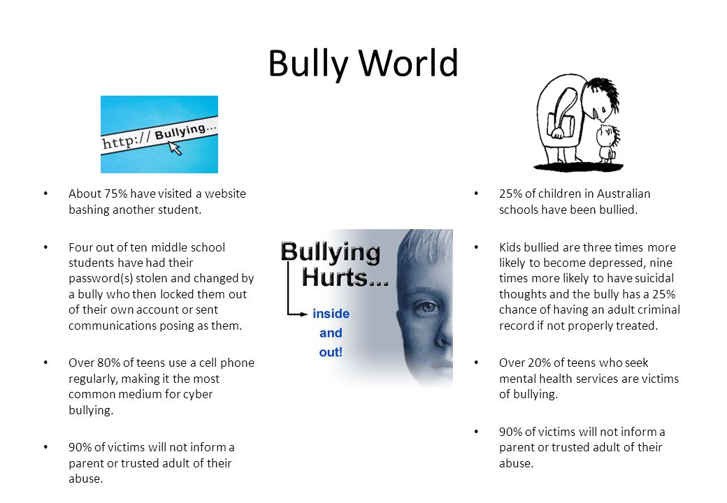 Bully World About 75% have visited a website bashing another student.