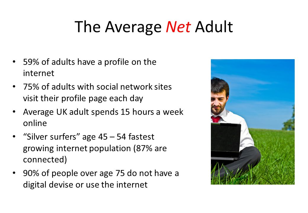 The Average Net Adult 59% of adults have a profile on the internet