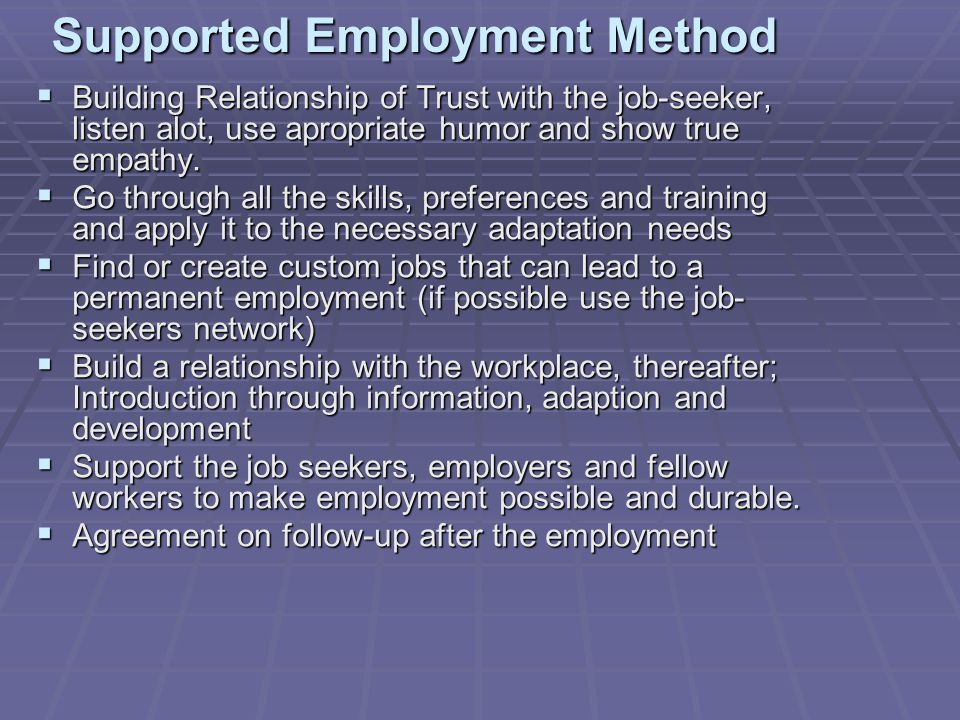Supported Employment Method