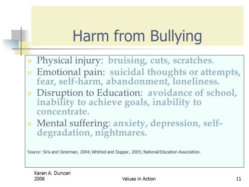 Harm from Bullying Physical injury: bruising, cuts, scratches.