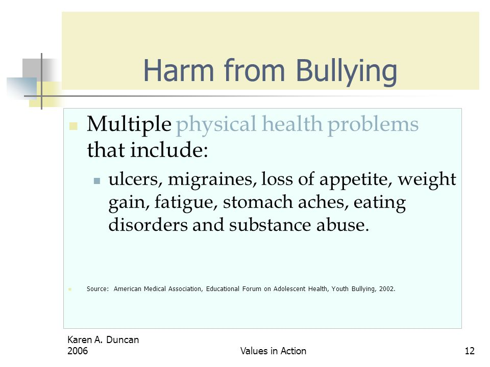 Harm from Bullying Multiple physical health problems that include: