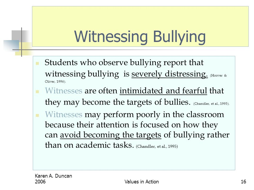 Witnessing Bullying Students who observe bullying report that witnessing bullying is severely distressing. (Hoover & Oliver, 1996).