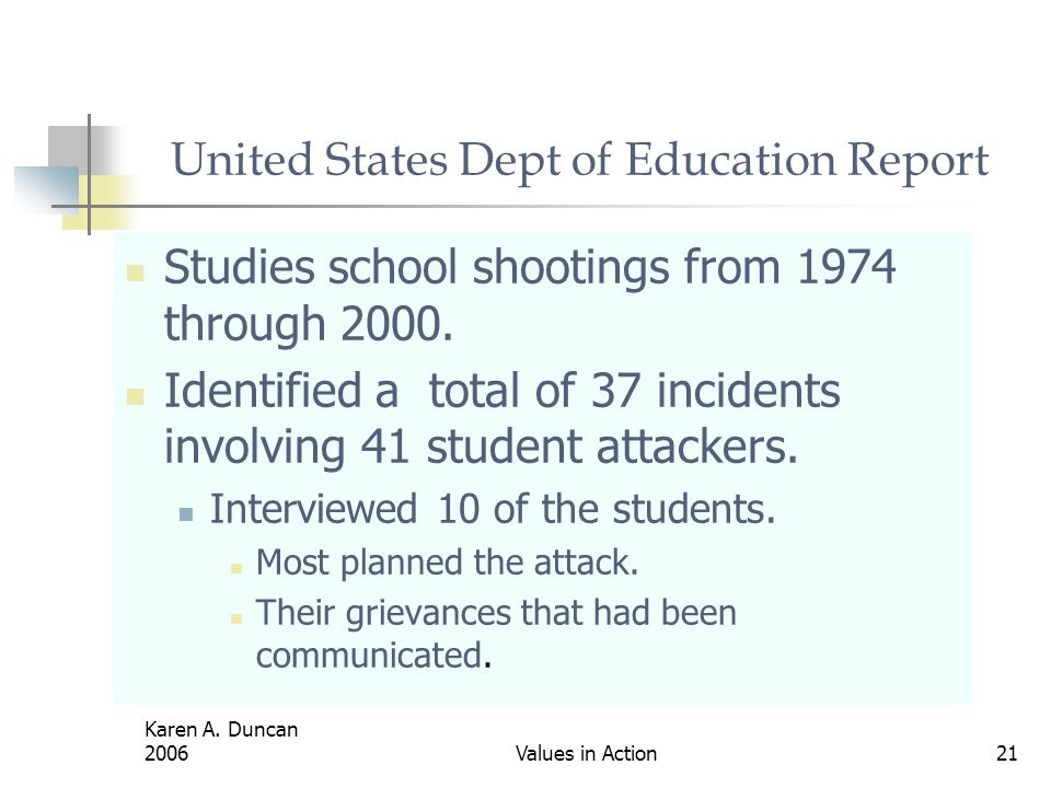 United States Dept of Education Report