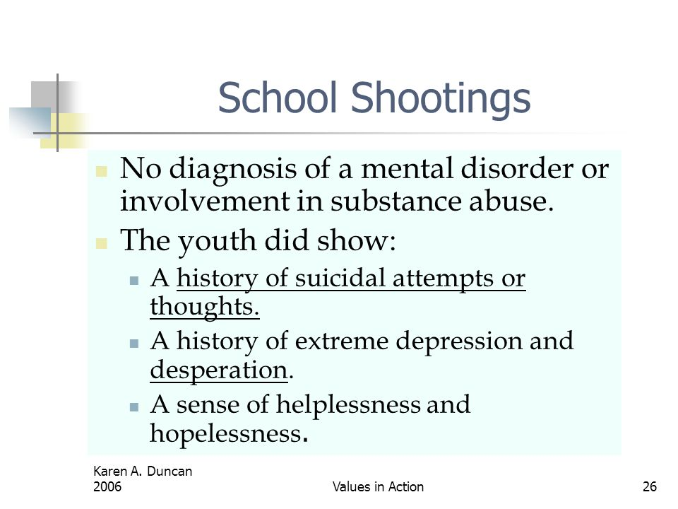 School Shootings No diagnosis of a mental disorder or involvement in substance abuse. The youth did show: