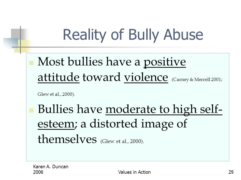 Reality of Bully Abuse Most bullies have a positive attitude toward violence (Carney & Merrell 2001; Glew et al., 2000).