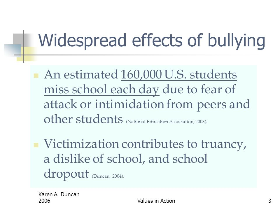 Widespread effects of bullying
