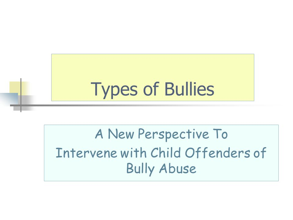 A New Perspective To Intervene with Child Offenders of Bully Abuse