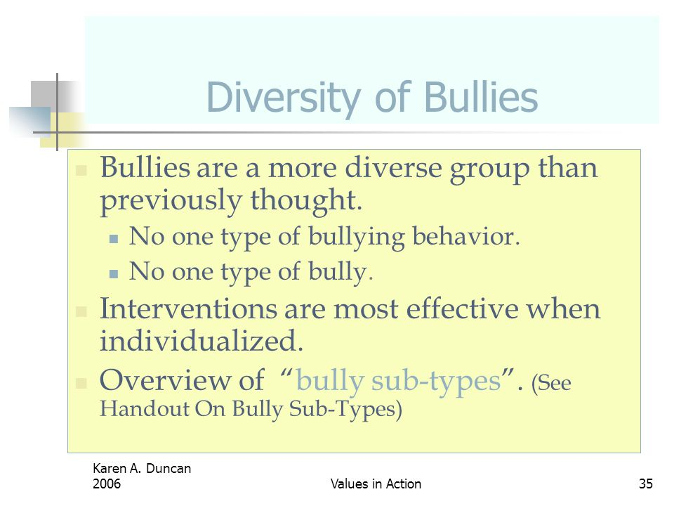 Diversity of Bullies Bullies are a more diverse group than previously thought. No one type of bullying behavior.