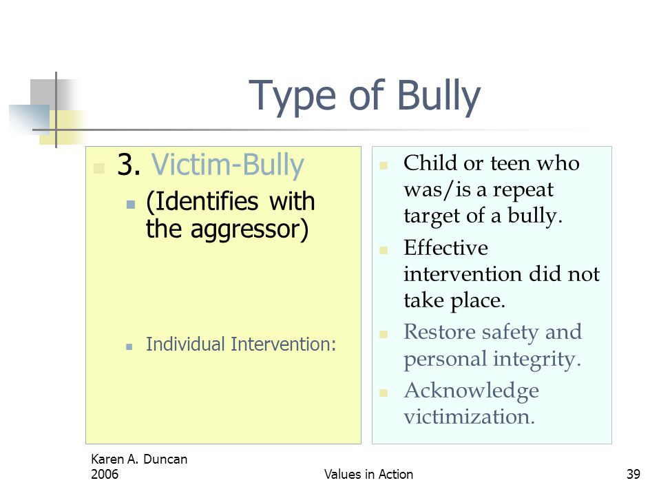 Type of Bully 3. Victim-Bully (Identifies with the aggressor)