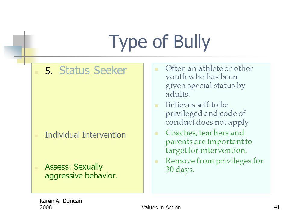 Type of Bully 5. Status Seeker