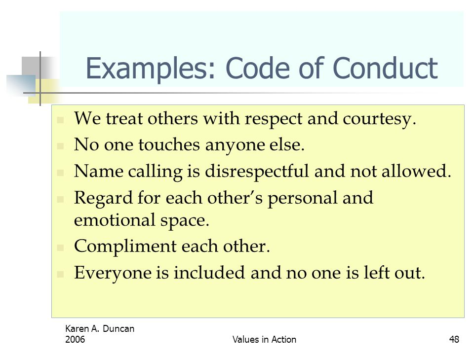 Examples: Code of Conduct
