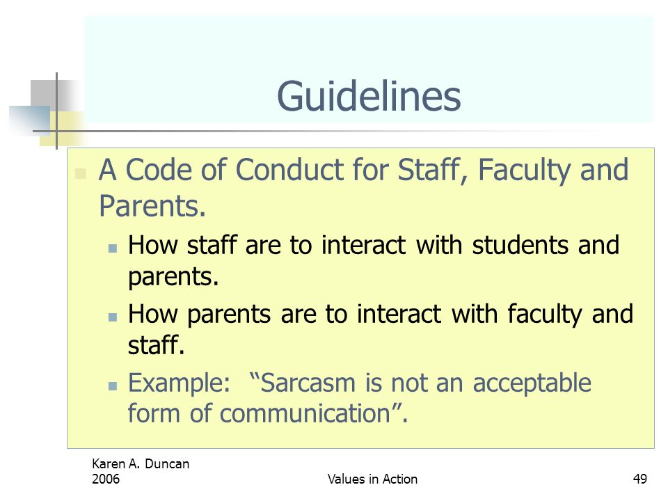 Guidelines A Code of Conduct for Staff, Faculty and Parents.