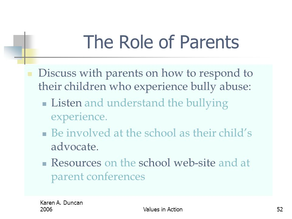 The Role of Parents Discuss with parents on how to respond to their children who experience bully abuse: