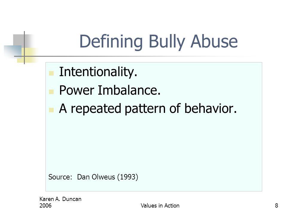 Defining Bully Abuse Intentionality. Power Imbalance.