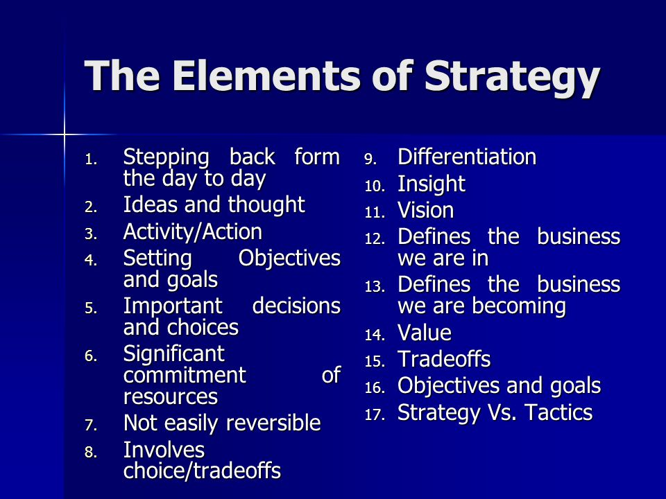The Elements of Strategy
