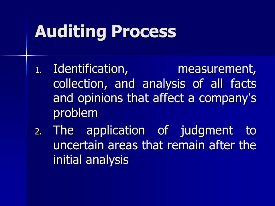 Auditing Process Identification, measurement, collection, and analysis of all facts and opinions that affect a company's problem.