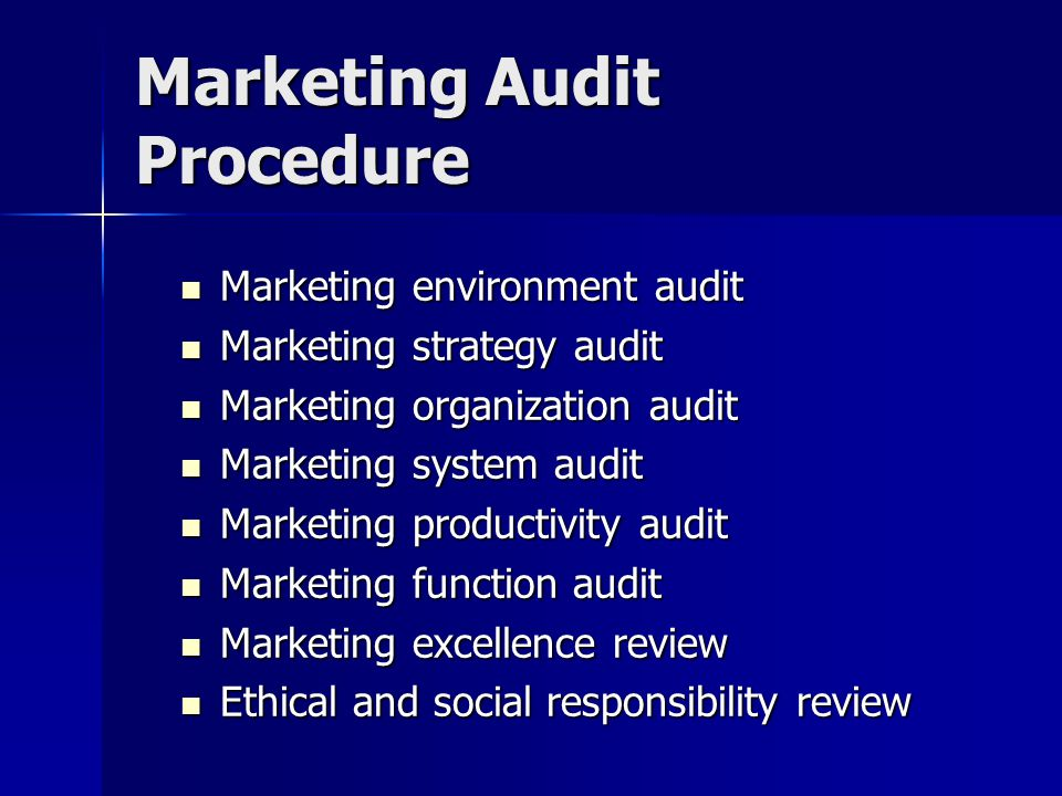 Marketing Audit Procedure