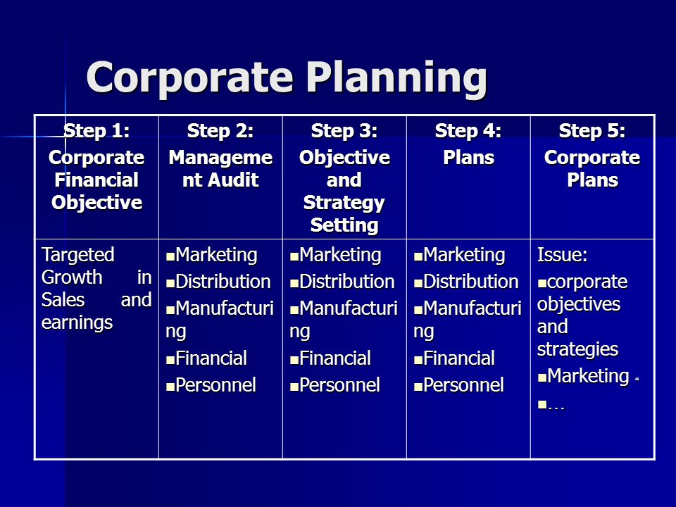 Objective and Strategy Setting Corporate Financial Objective