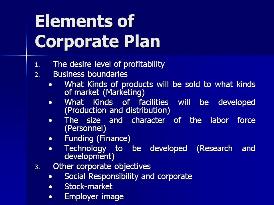 Elements of Corporate Plan