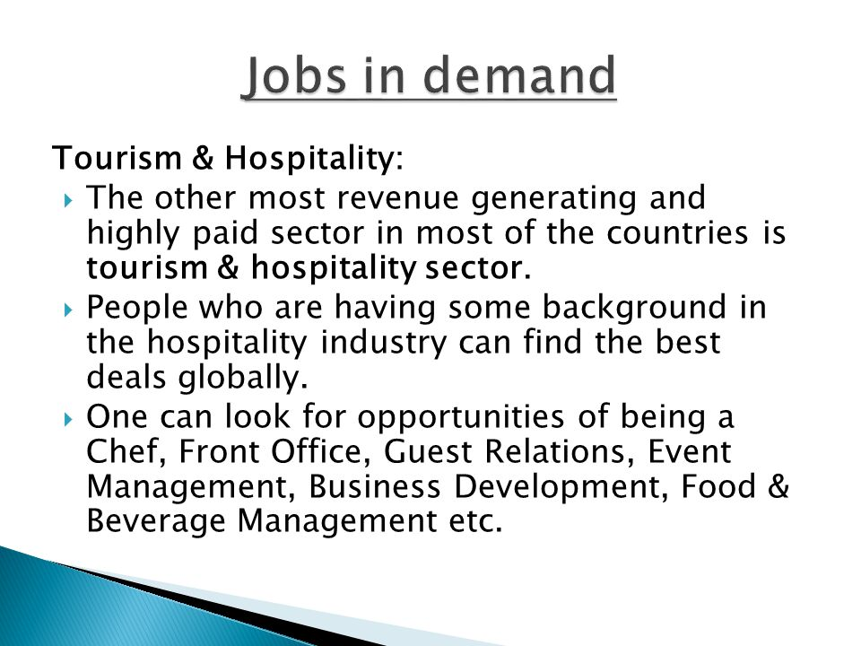 Jobs in demand Tourism & Hospitality: