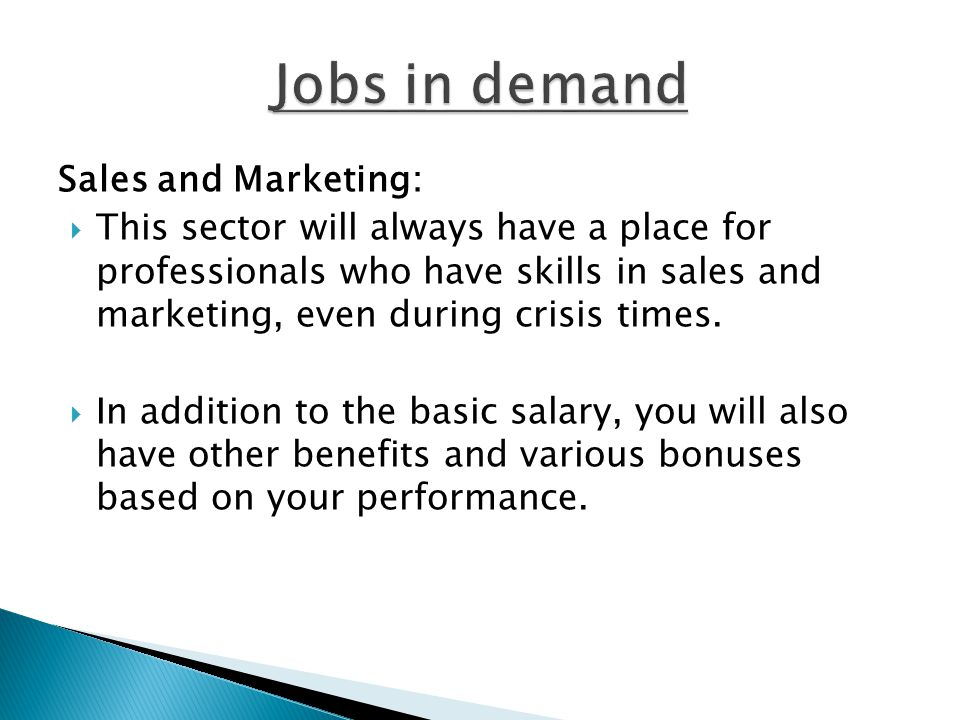 Jobs in demand Sales and Marketing: