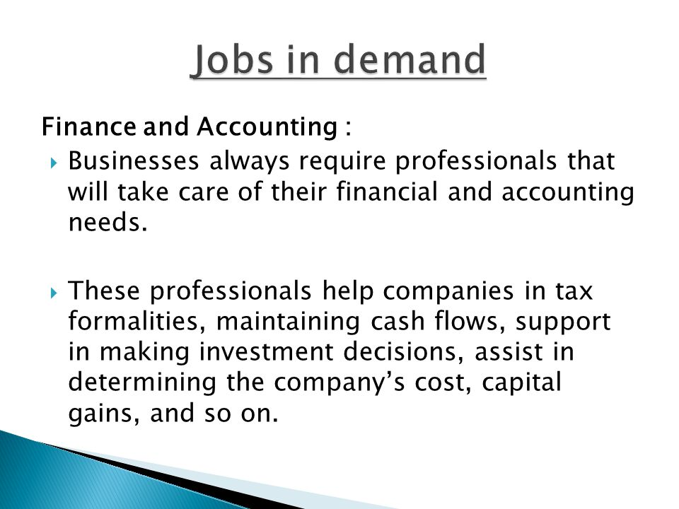 Jobs in demand Finance and Accounting :