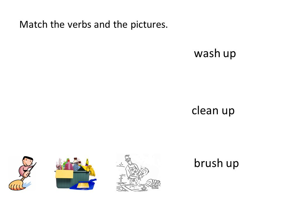 Match the verbs and the pictures.