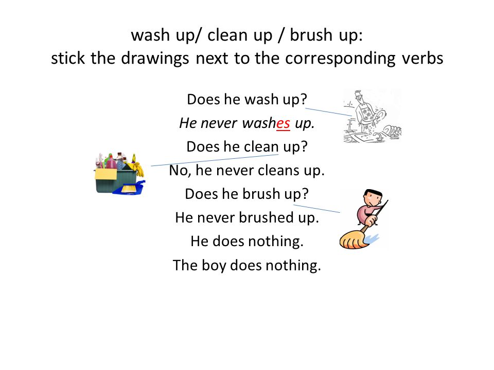 wash up/ clean up / brush up: stick the drawings next to the corresponding verbs