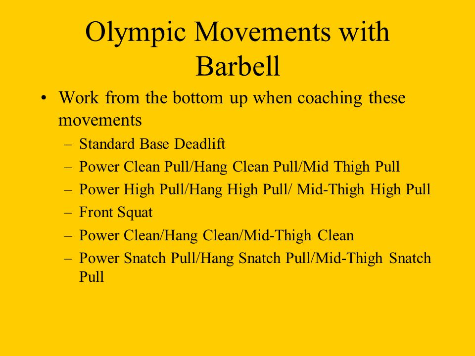 Olympic Movements with Barbell