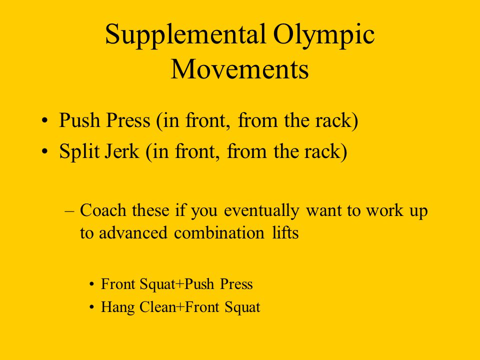 Supplemental Olympic Movements