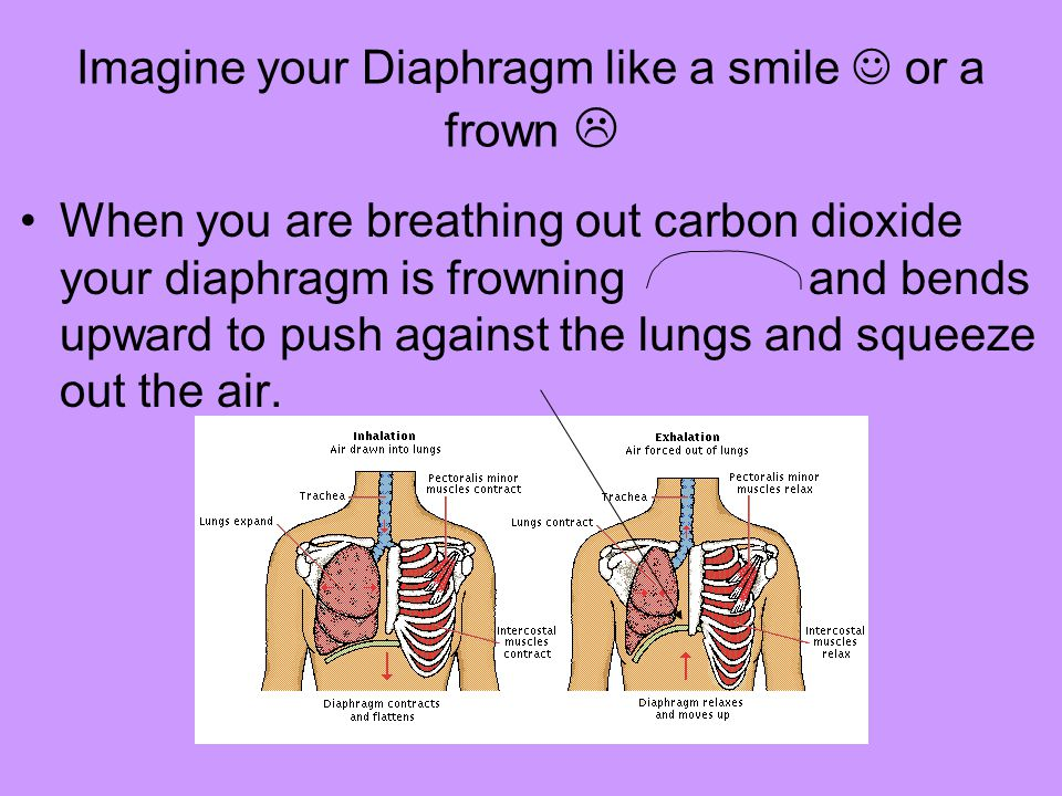 Imagine your Diaphragm like a smile  or a frown 