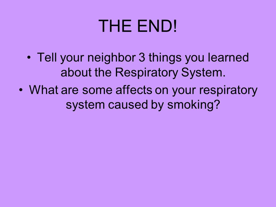 THE END. Tell your neighbor 3 things you learned about the Respiratory System.