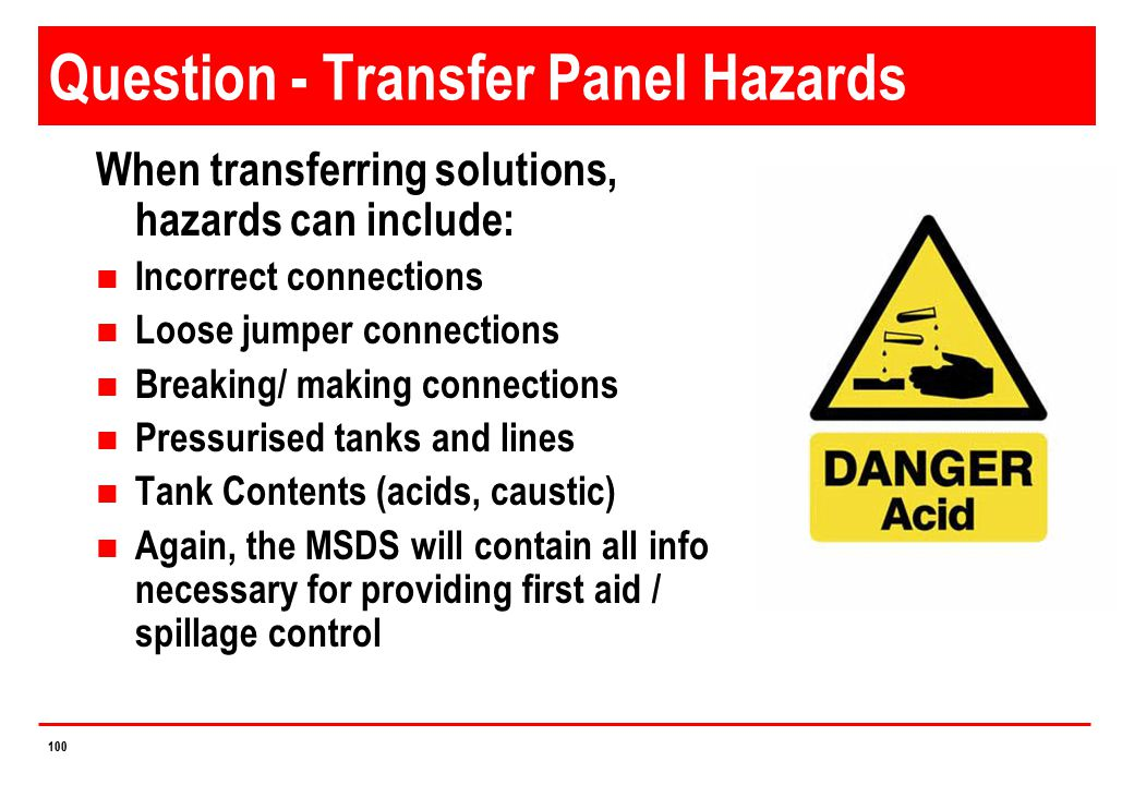 Question - Transfer Panel Hazards