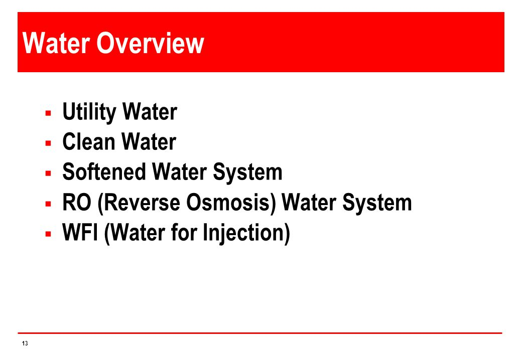 Water Overview Utility Water Clean Water Softened Water System
