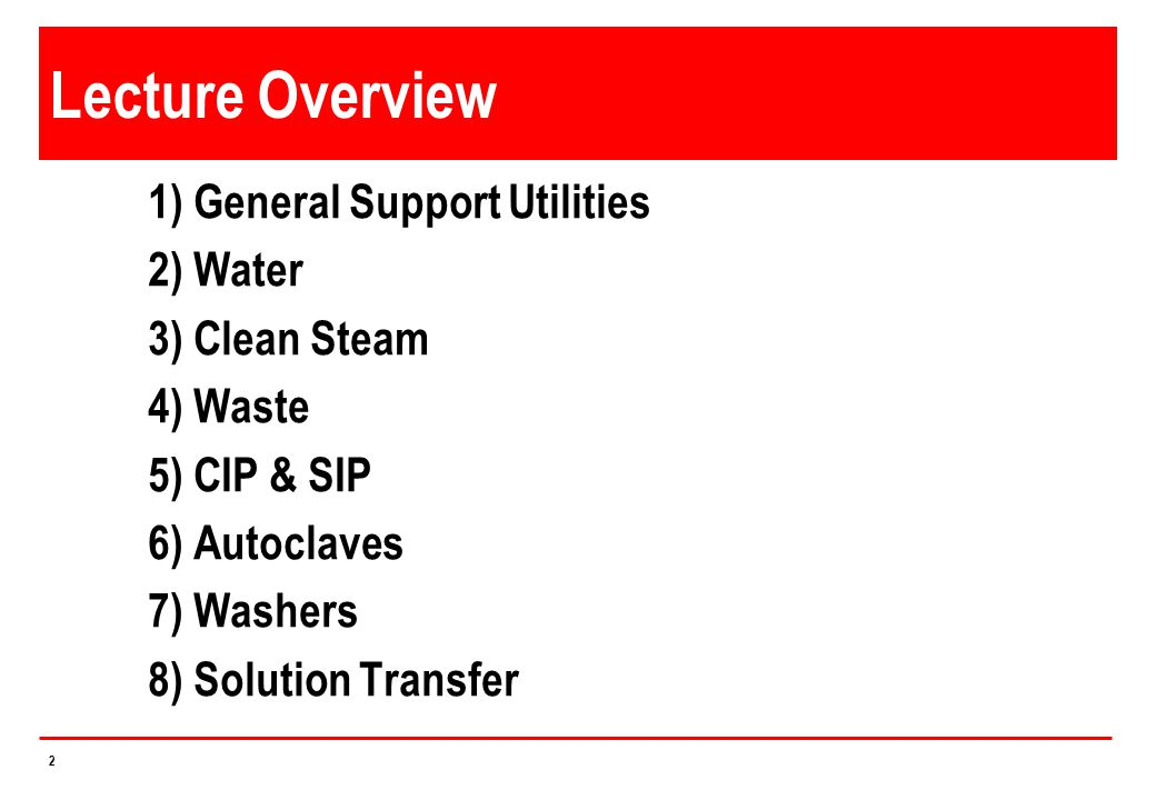 Lecture Overview 1) General Support Utilities 2) Water 3) Clean Steam