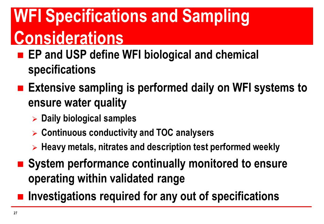 WFI Specifications and Sampling Considerations