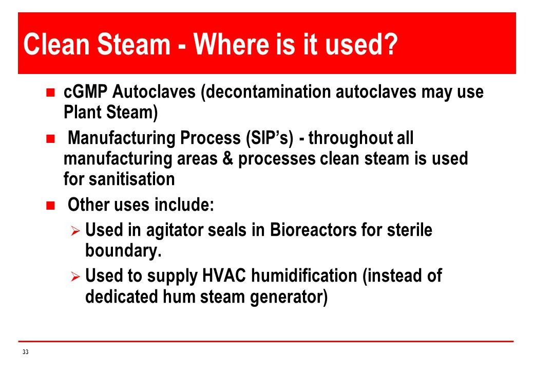 Clean Steam - Where is it used