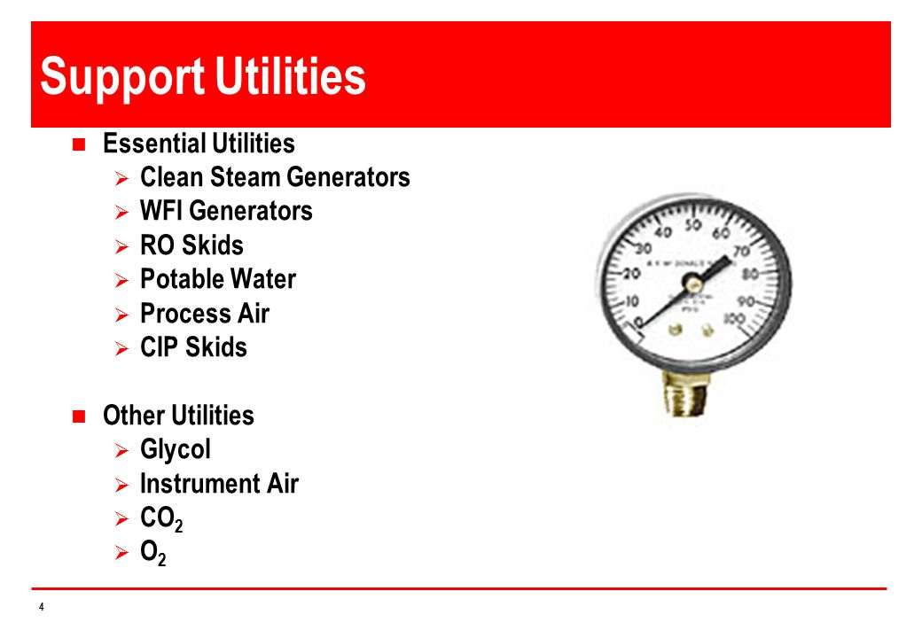 Support Utilities Essential Utilities Clean Steam Generators