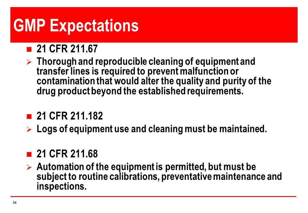 GMP Expectations 21 CFR 211.67 21 CFR 211.182 21 CFR 211.68