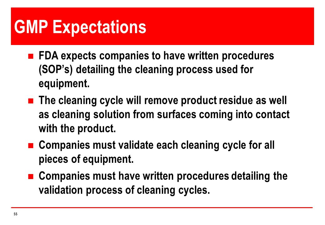 4/14/2017 GMP Expectations. FDA expects companies to have written procedures (SOP's) detailing the cleaning process used for equipment.