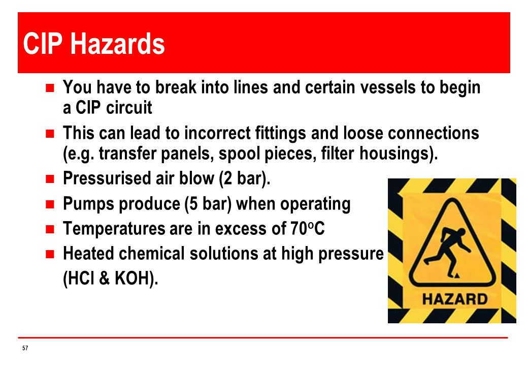 4/14/2017 CIP Hazards. You have to break into lines and certain vessels to begin a CIP circuit.
