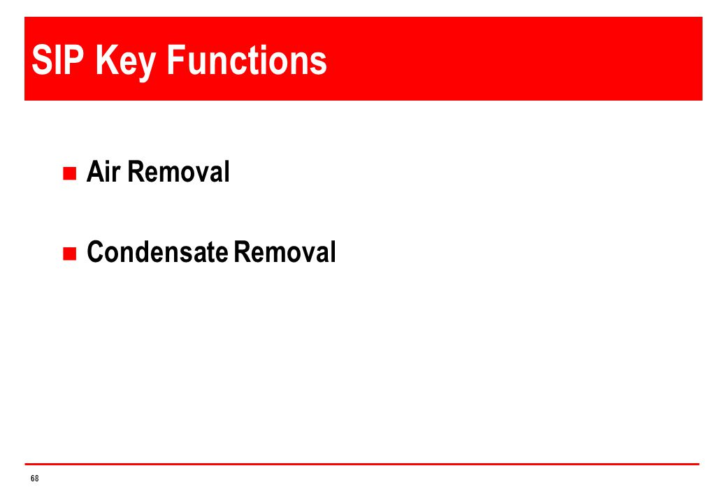 SIP Key Functions Air Removal Condensate Removal 4/14/2017